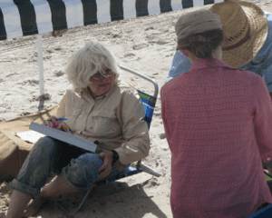 Linda recording data - photo by Fred Lanoue