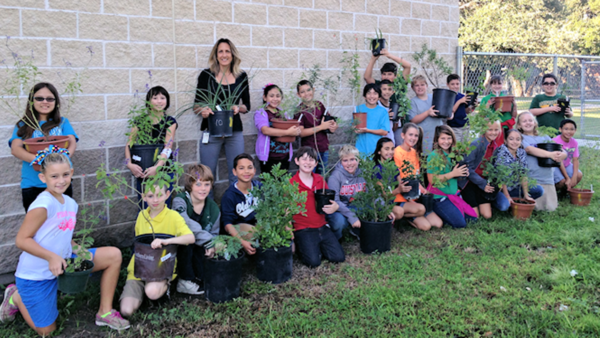 Fulton Learning Center 5th graders prepare to plant native plants for butterflies and pollinators